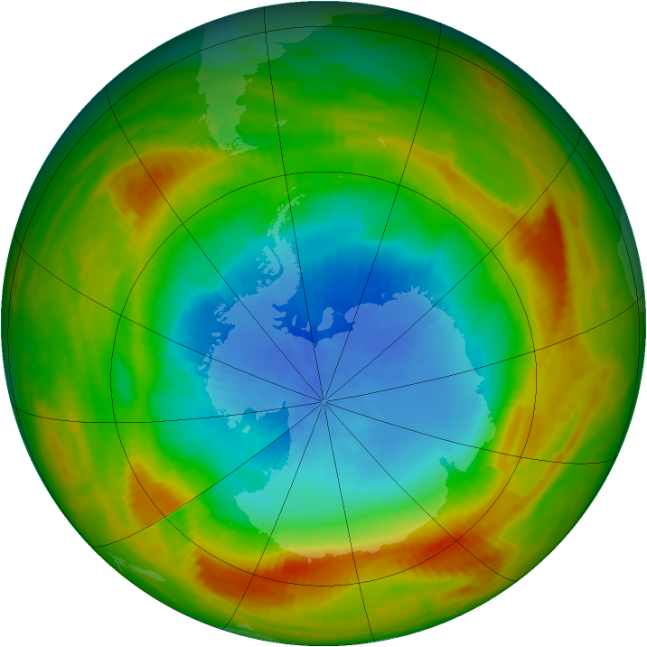 Antarctic ozone map for 30 October 1981