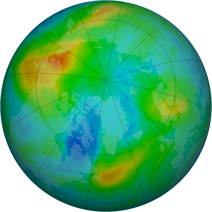 Arctic ozone map for 31 October 1981
