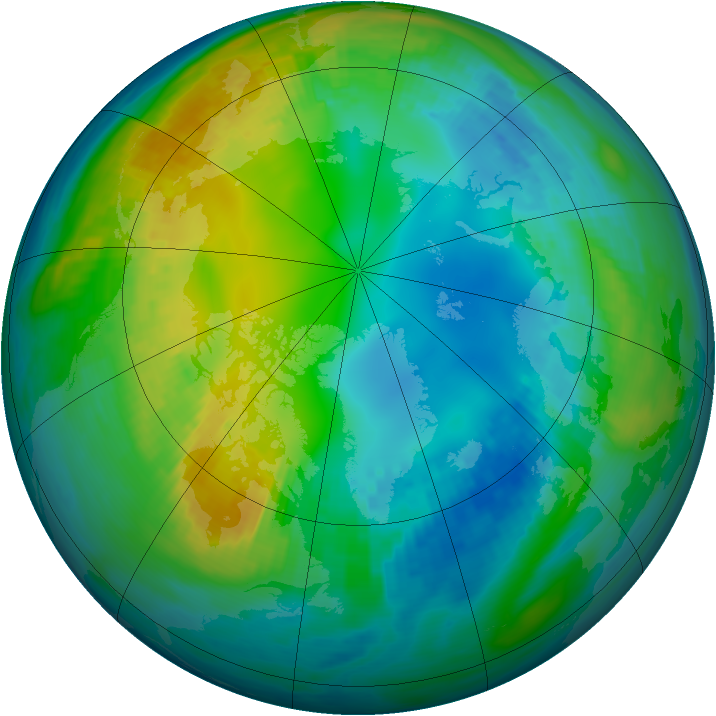 Arctic ozone map for 09 November 1981