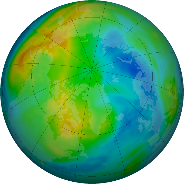Arctic ozone map for 11 November 1981