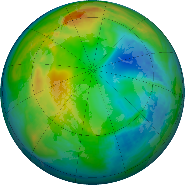 Arctic ozone map for 20 November 1981