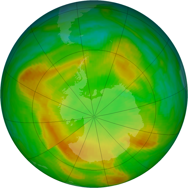 Antarctic ozone map for 25 November 1981