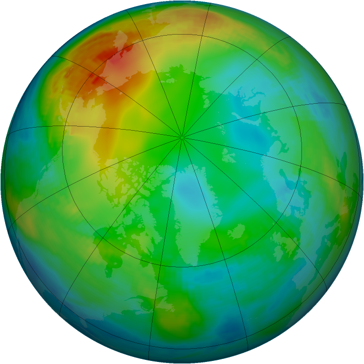 Arctic ozone map for 27 November 1981