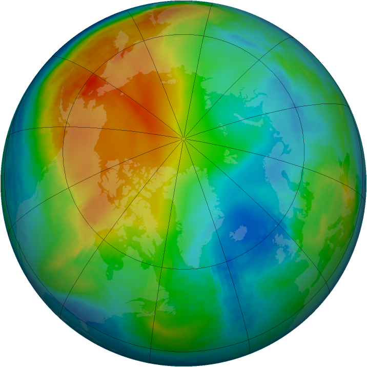 Arctic ozone map for 01 December 1981