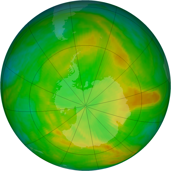 Antarctic ozone map for 02 December 1981