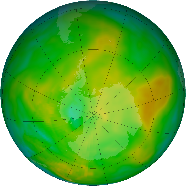 Antarctic ozone map for 07 December 1981