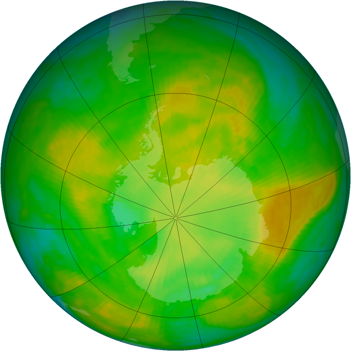 Antarctic ozone map for 08 December 1981