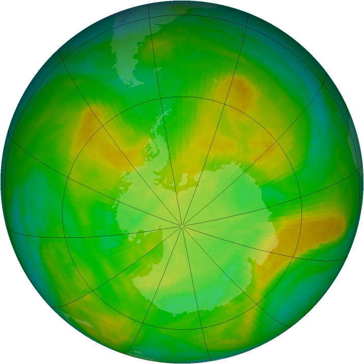 Antarctic ozone map for 09 December 1981