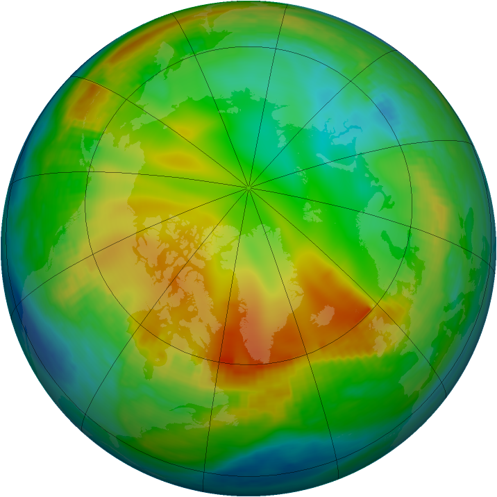 Arctic ozone map for 11 December 1981
