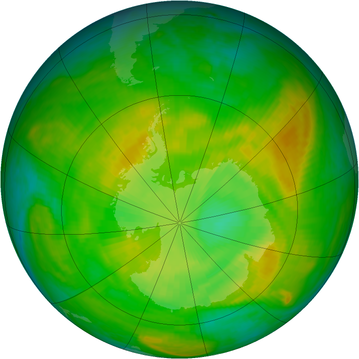Antarctic ozone map for 11 December 1981