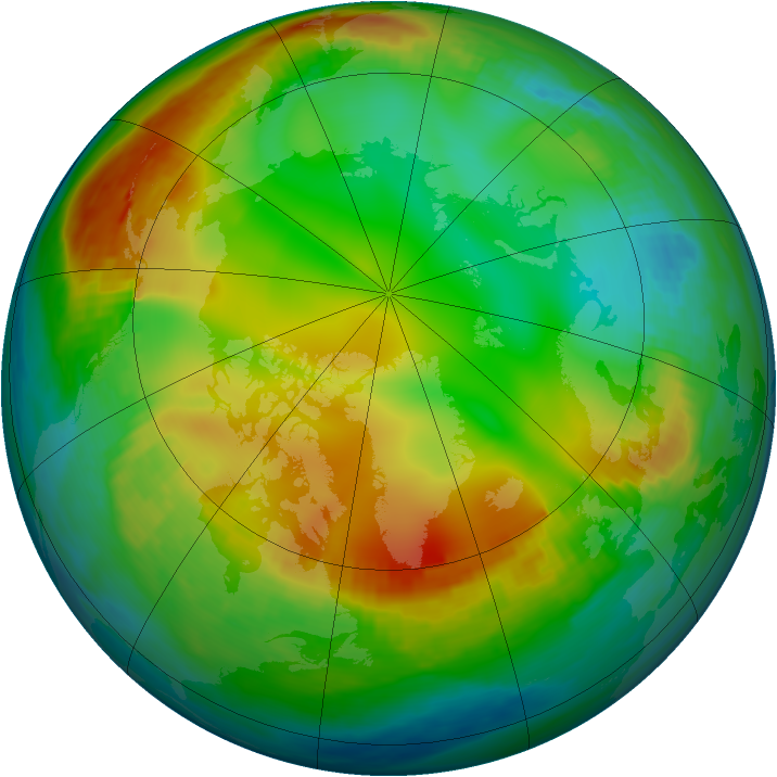 Arctic ozone map for 13 December 1981