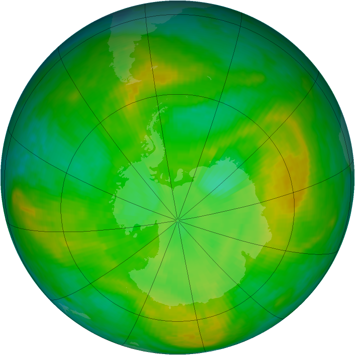 Antarctic ozone map for 17 December 1981