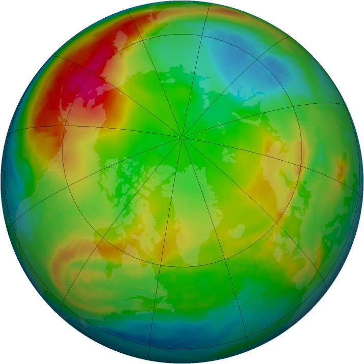 Arctic ozone map for 18 December 1981