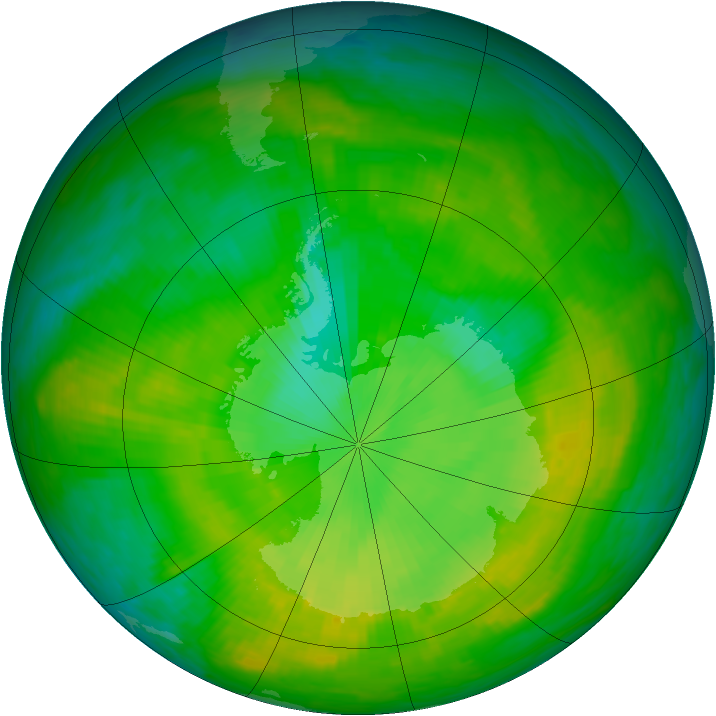 Antarctic ozone map for 20 December 1981