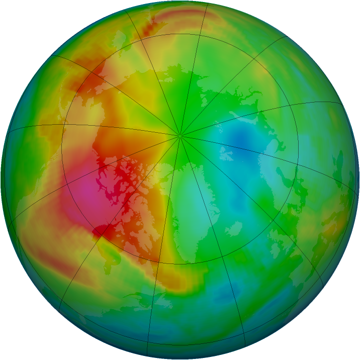 Arctic ozone map for 23 December 1981