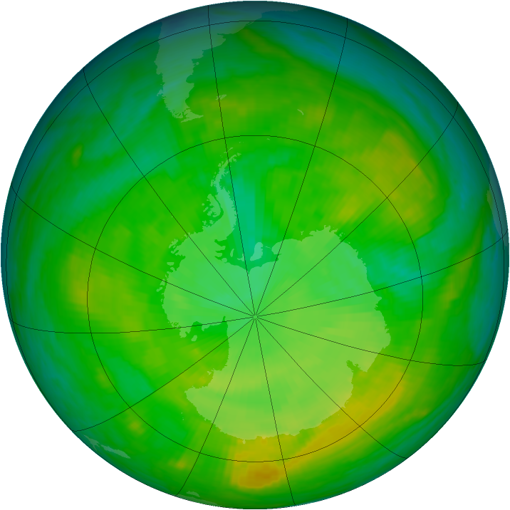 Antarctic ozone map for 23 December 1981