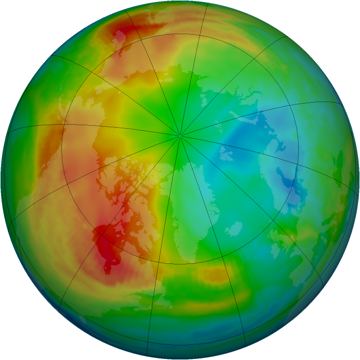Arctic ozone map for 25 December 1981
