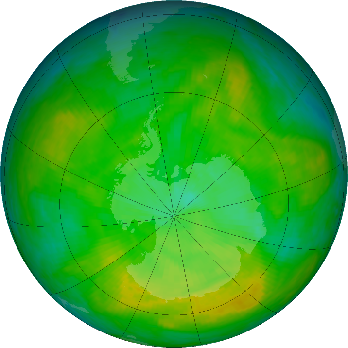 Antarctic ozone map for 25 December 1981