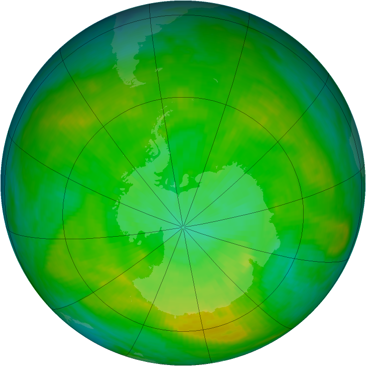 Antarctic ozone map for 27 December 1981