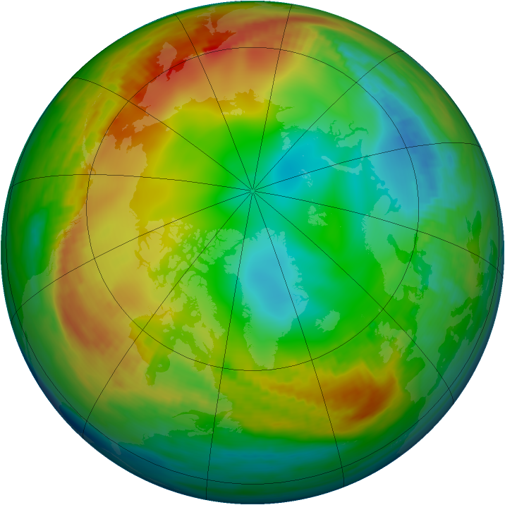 Arctic ozone map for 28 December 1981