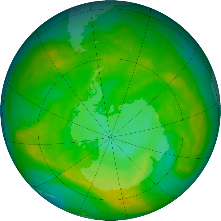Antarctic ozone map for 28 December 1981