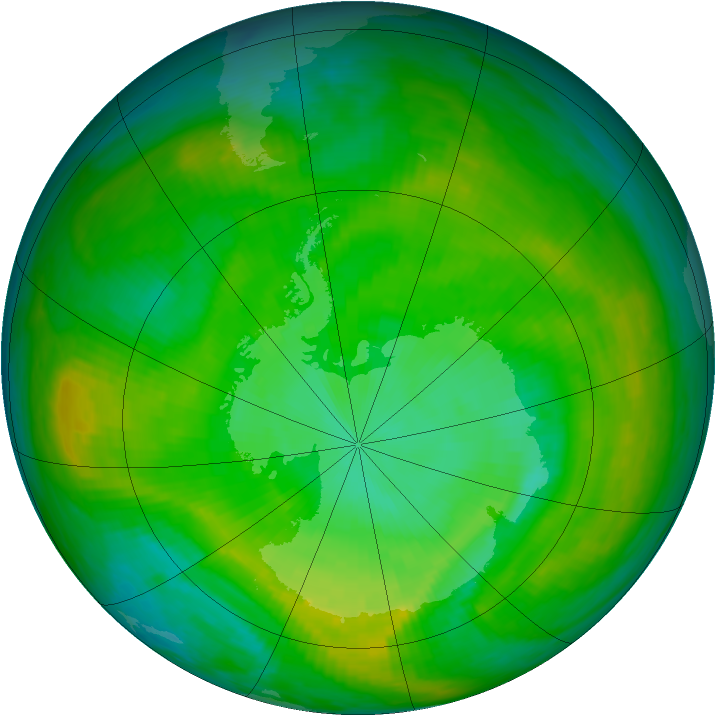 Antarctic ozone map for 29 December 1981