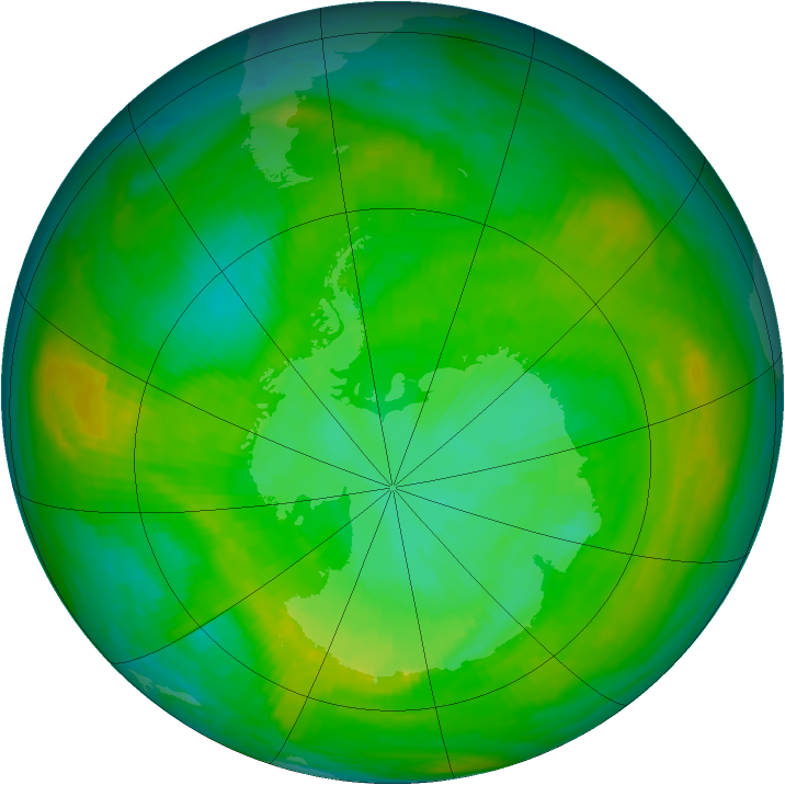 Antarctic ozone map for 30 December 1981