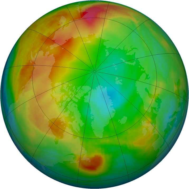 Arctic ozone map for 31 December 1981