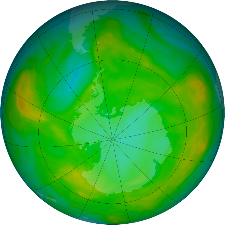 Antarctic ozone map for 31 December 1981