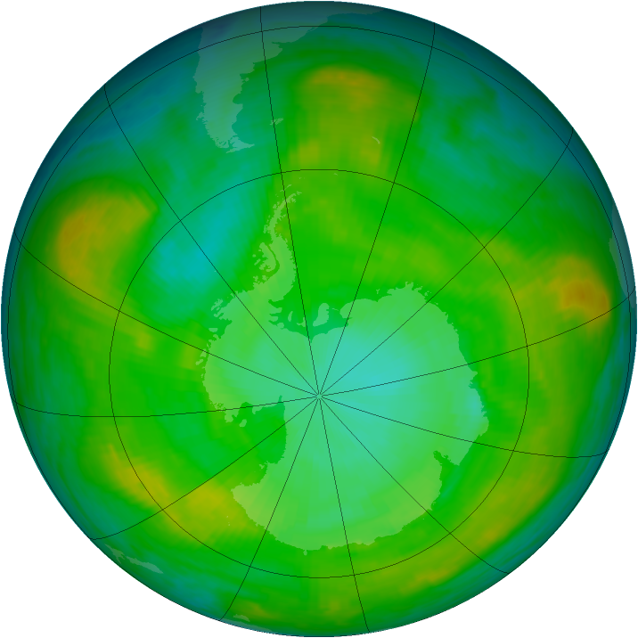 Antarctic ozone map for 01 January 1982