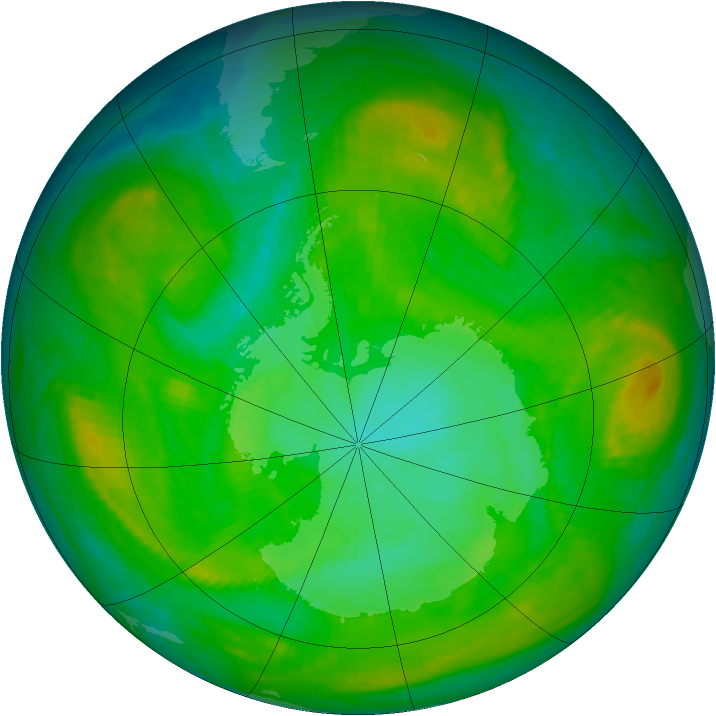 Antarctic ozone map for 02 January 1982