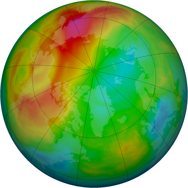 Arctic ozone map for 03 January 1982