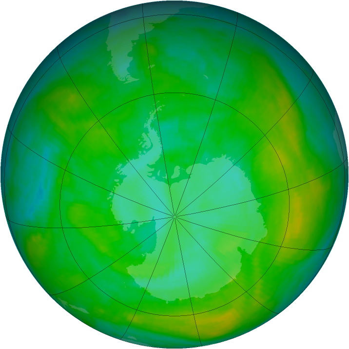 Antarctic ozone map for 09 January 1982