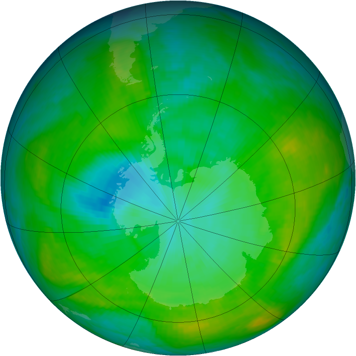 Antarctic ozone map for 16 January 1982