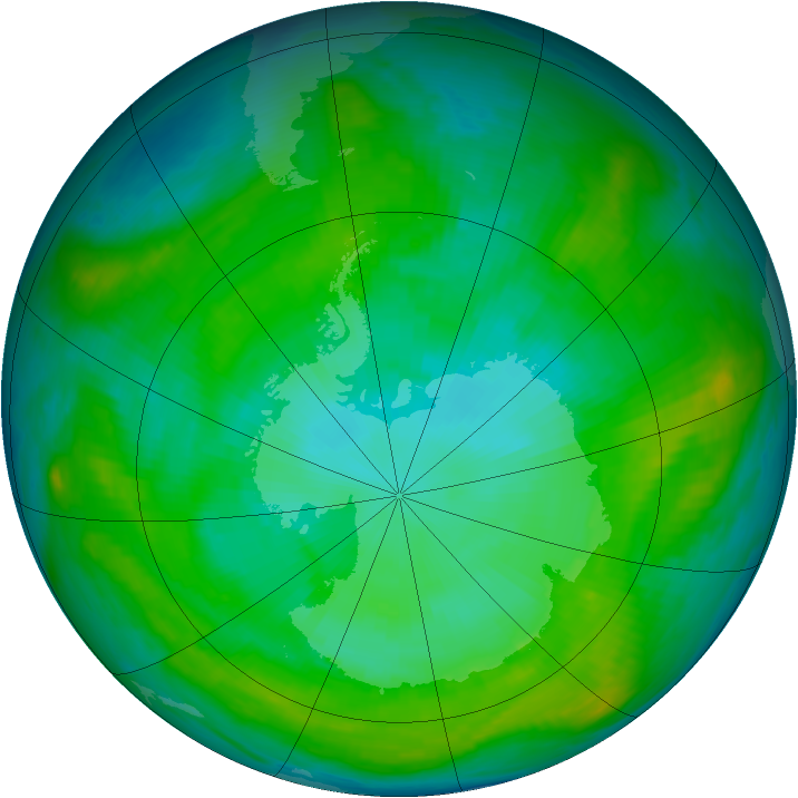 Antarctic ozone map for 21 January 1982