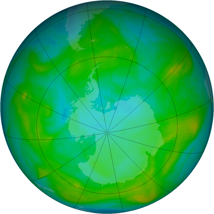 Antarctic ozone map for 22 January 1982