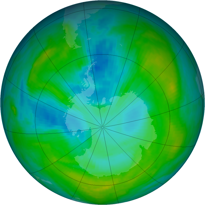 Antarctic ozone map for 29 January 1982