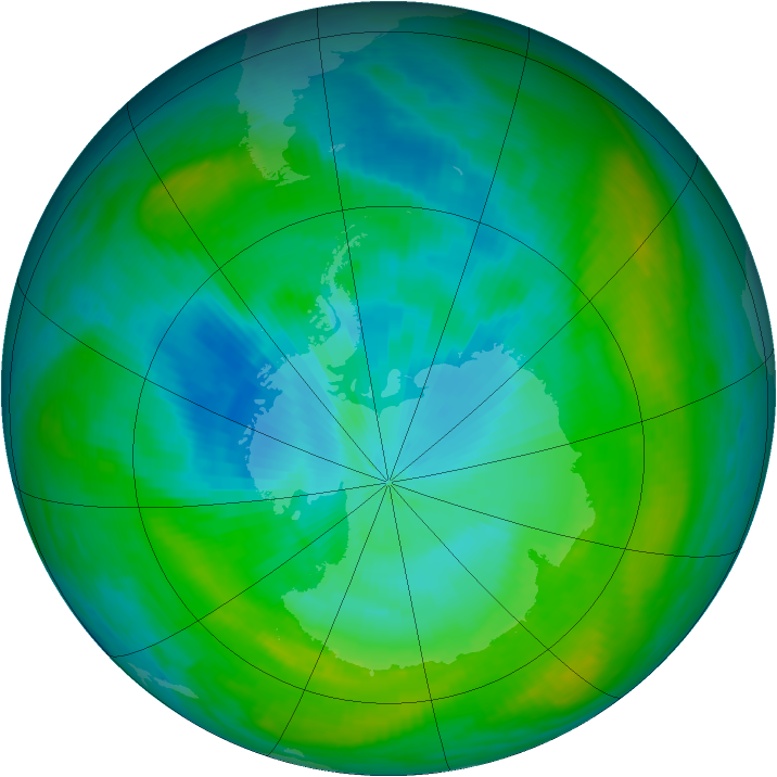 Antarctic ozone map for 31 January 1982