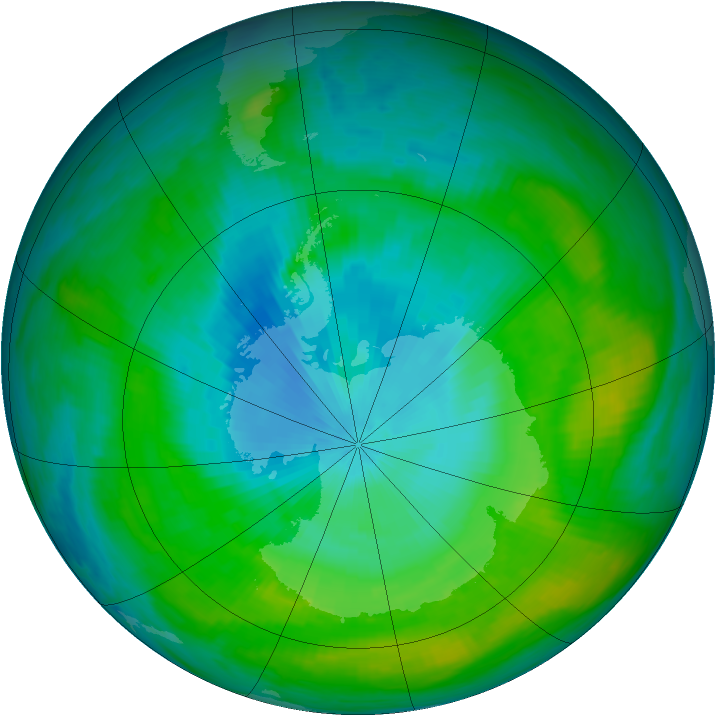 Antarctic ozone map for 02 February 1982