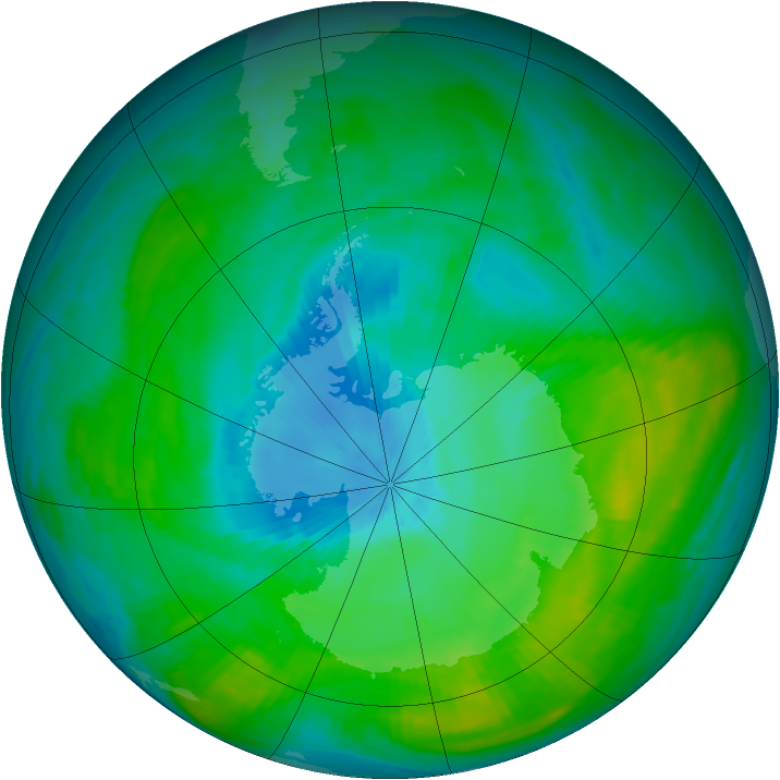 Antarctic ozone map for 05 February 1982