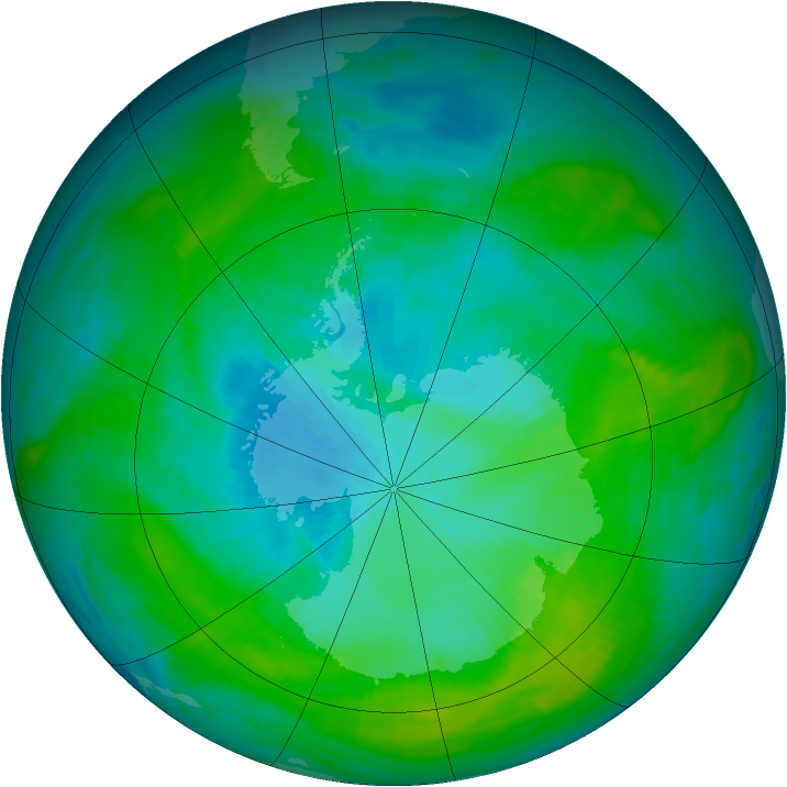 Antarctic ozone map for 10 February 1982