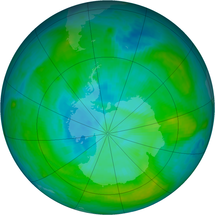 Antarctic ozone map for 11 February 1982