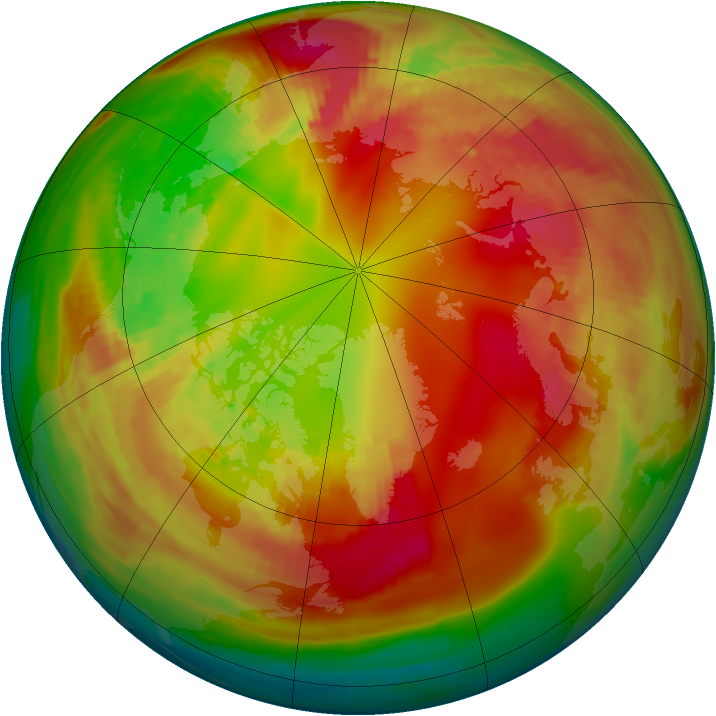 Arctic ozone map for 12 February 1982