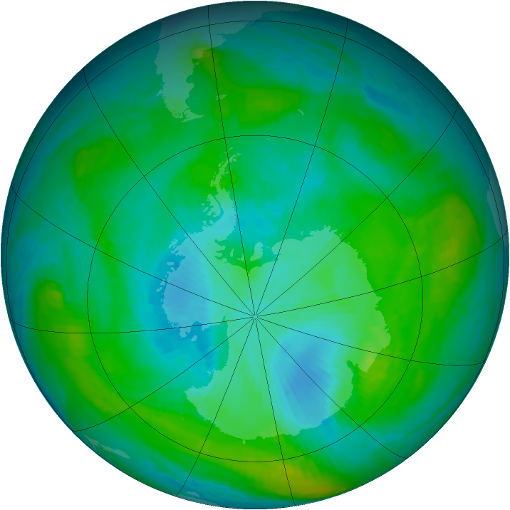 Antarctic ozone map for 13 February 1982