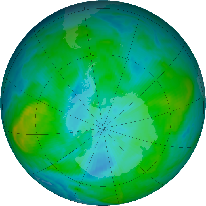 Antarctic ozone map for 16 February 1982