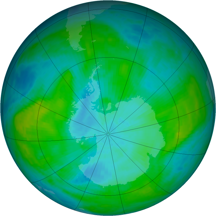 Antarctic ozone map for 17 February 1982