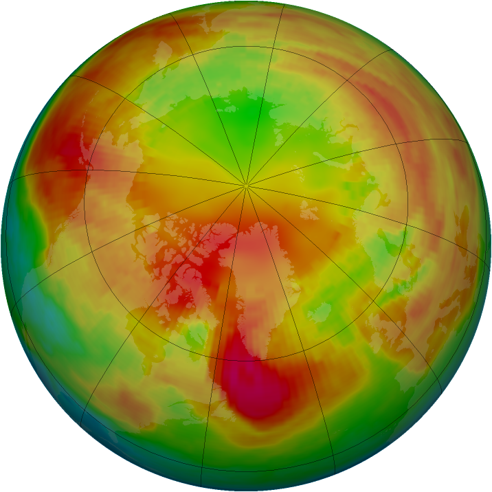 Arctic ozone map for 19 February 1982