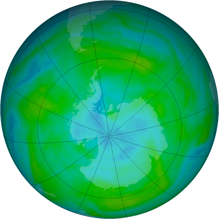 Antarctic ozone map for 20 February 1982