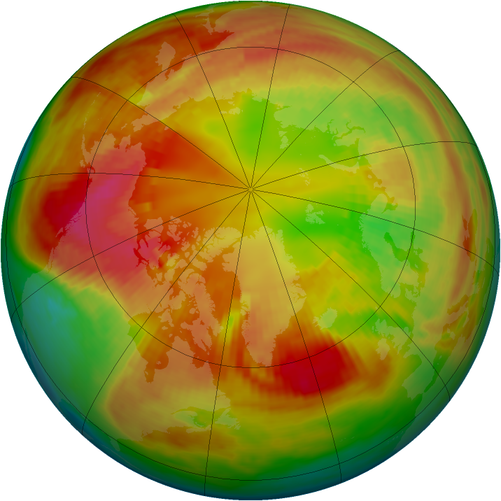Arctic ozone map for 21 February 1982