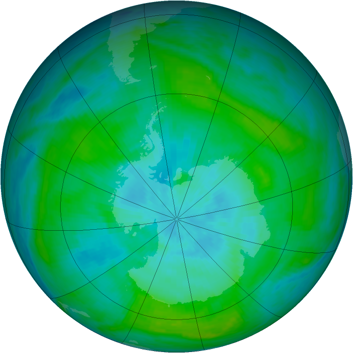 Antarctic ozone map for 21 February 1982